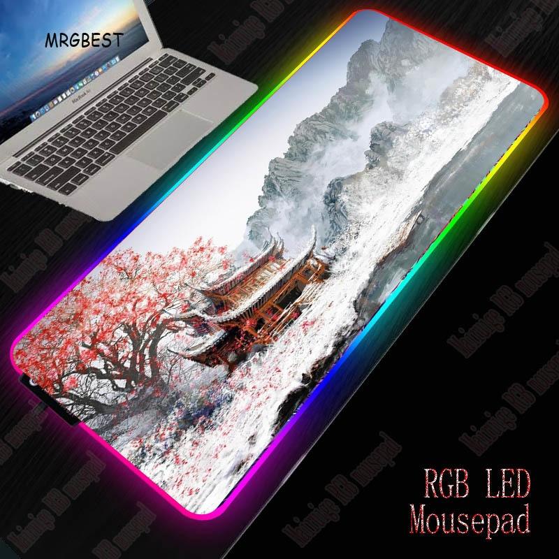 MRGBEST اليابان زهر الكرز المشهد كبير ل الألعاب RGB ماوس الوسادة مصباح ليد حصيرة كبيرة مكتب الكمبيوتر لوحة المفاتيح سرعة لوحات مطاطية