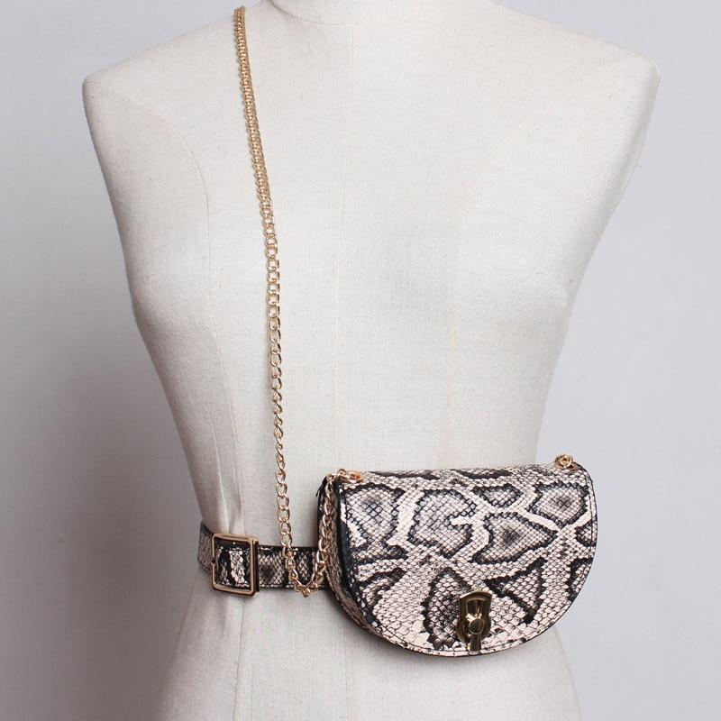 Mulheres de luxo pacote de cintura 2019 moda pu couro fanny pacote do vintage corrente cinto bolsa feminina serpentina moeda saco de bum