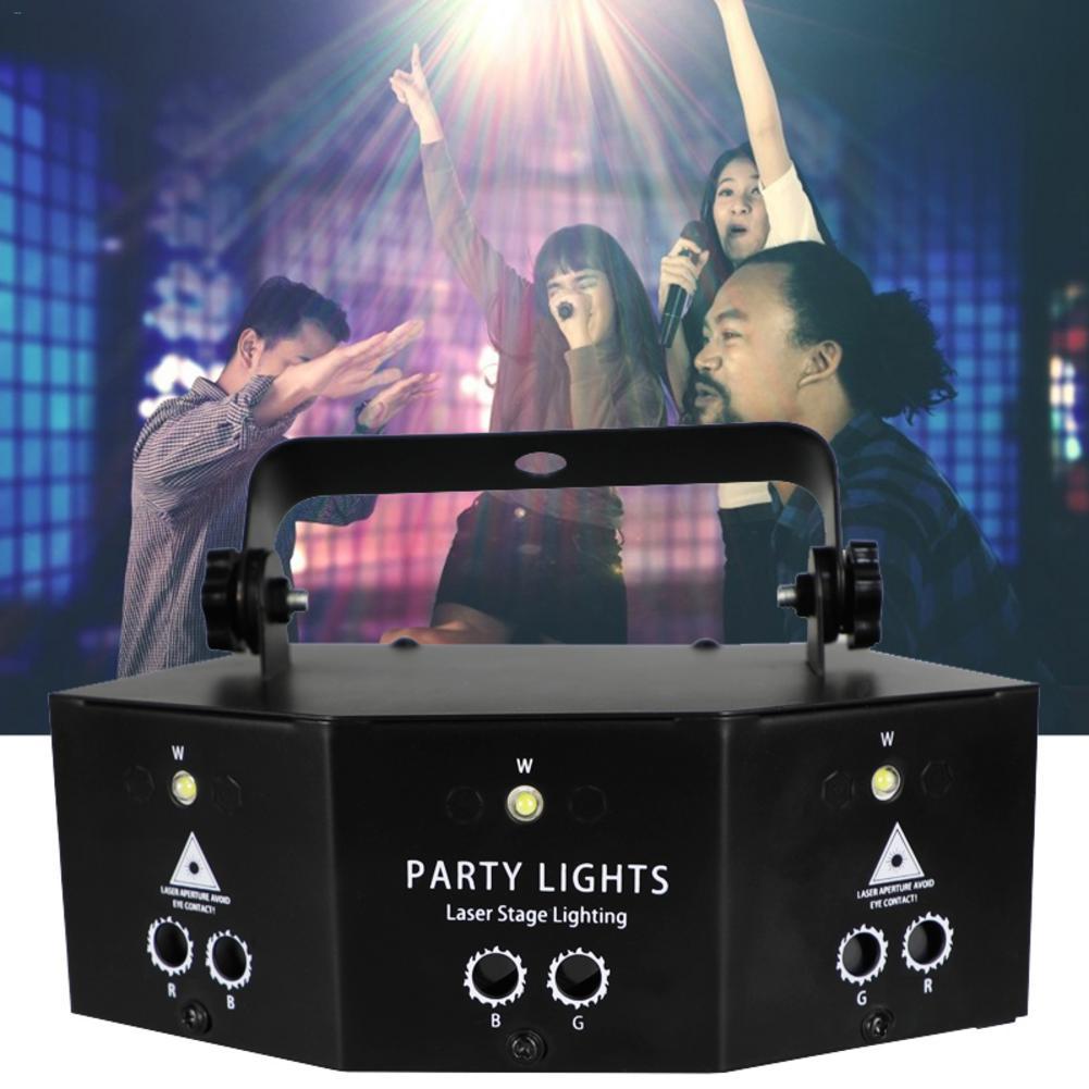 9-глазная RGB дискотечная лампа DMX, сценический стробоскоп с дистанционным управлением, светодиодный лазерсветильник светильник для диджея, проектор для Хэллоуина, Рождества, бара вечерние, домашнего декора