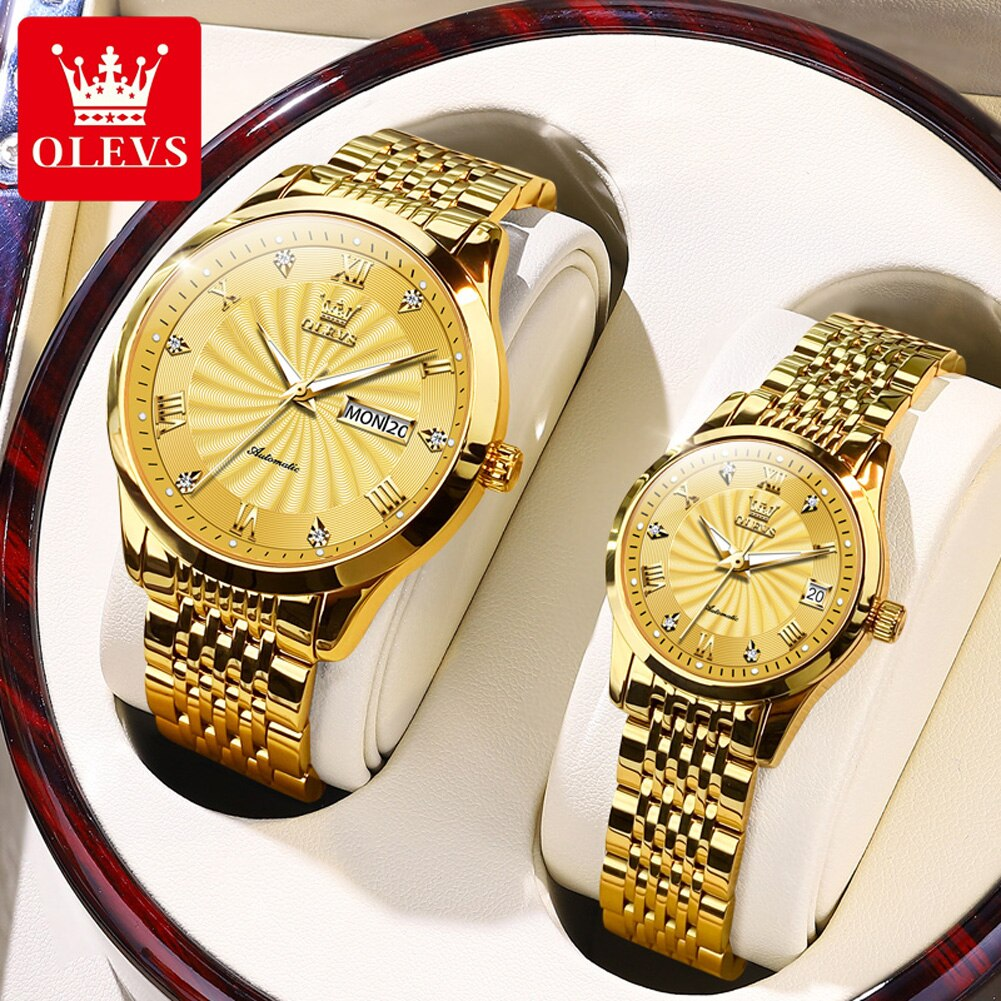 OLEVS Fashion Lovers Watches Brand Luxury Automatic Mechanical Watch For Men Women Stainless Steel Waterproof Couple Watch 6630
