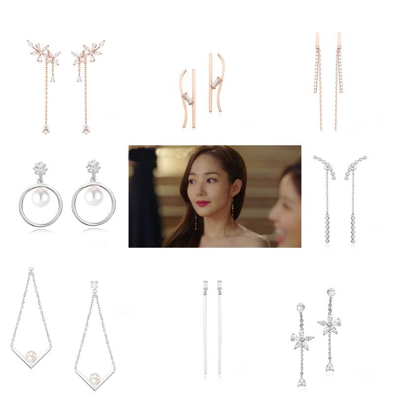 MENGJIQIAO 2018 Korean Star New Hot Trendy Zircon Drop Earrings For Women Fashion Jewelry Micro Paved Boucle D'oreille Gifts