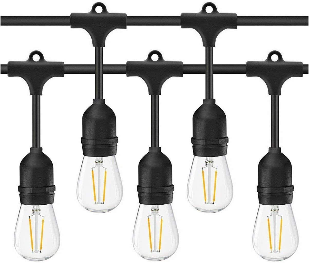 S14 String Lights 49Ft 15Pcs 2W LED Edison Filament Bulbs E27 Sockets Perfect for Party, Wedding, Anniversaries,Celebrations