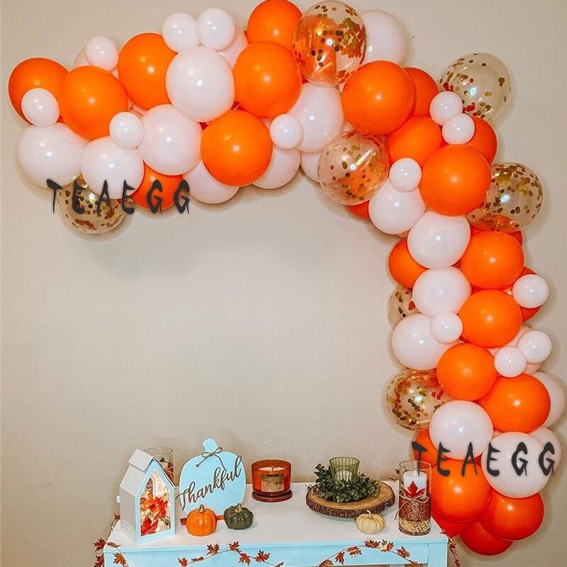 78 Uds blanco naranja látex globo Garland arco Kit oro confeti globo para Decoración Para Cumpleaños de bebé aniversaire redondo telón de fondo