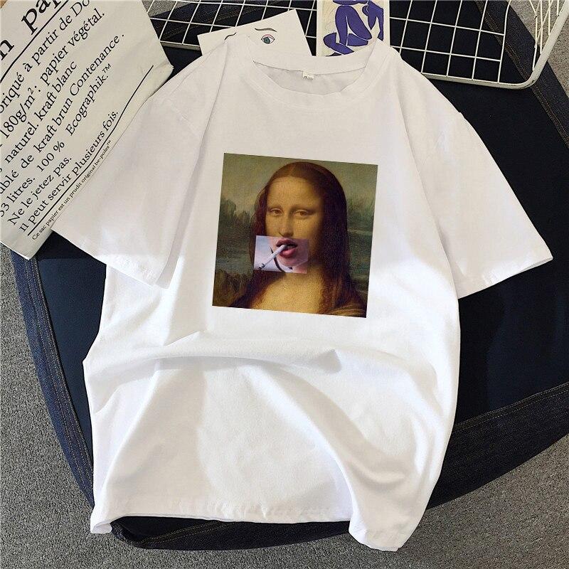 Mona lisa pintura feminina t-shirts artístico pintura a óleo harajuku estética ulzzang oversized t shirt roupas coreanas