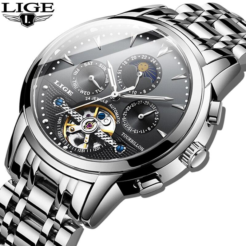 LIGE-relojes mecánicos para hombre, de marca superior, reloj de lujo, reloj de pulsera militar de negocios para hombre, Tourbillon de moda 2020, reloj para hombres