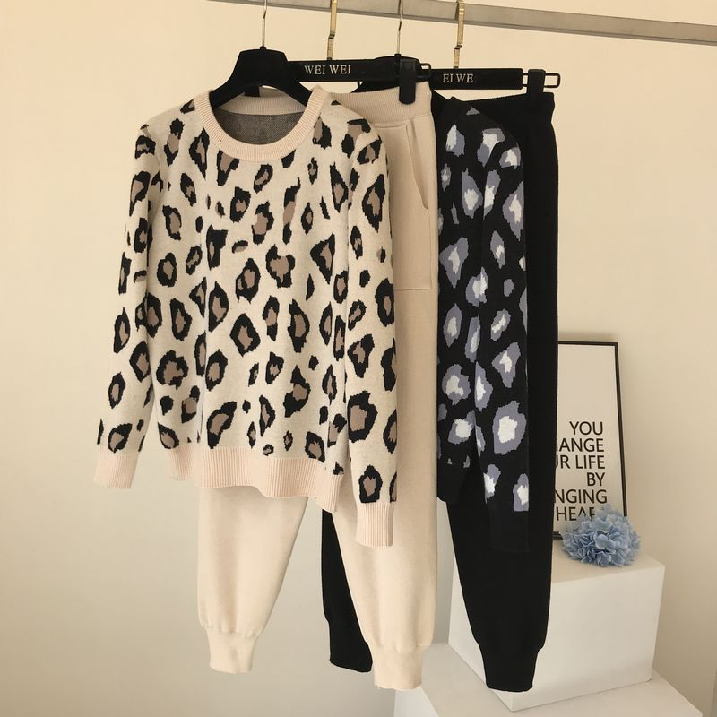 Streetwear leopard printed knit two peice suit women long sleeve O-Neck sweater tops + solid color h