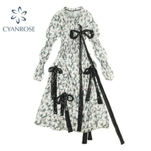 French Fairy Bow Lace Up Dress Women 2021 New Trendy Design Half High Collar Frcoks Sweet Floral Pri