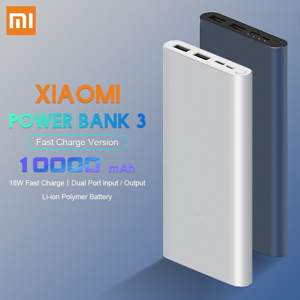 Xiaomi banco de potencia Original 3 10000mAh 18W dos-forma de carga rápida USB-C ENTRADA DUAL de salida externa PLM12ZM para teléfono