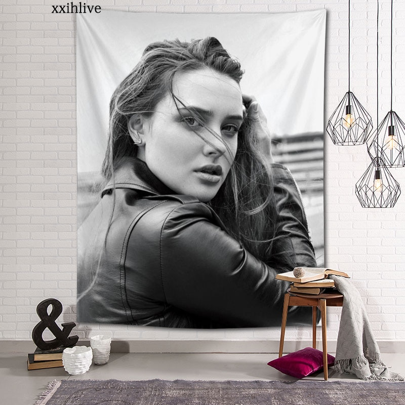 Изготовленный На Заказ актриса Кэтрин Лэнгфорд на стене дома вечерние украшения гобелены фон для фотосъемки с изображением Скатерти насте...