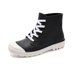 Spring New Fashion Rain Boots Candy Color Non-slip Jelly Rain Shoes Female Imitation Canvas Lace-up Waterproof Overshoes