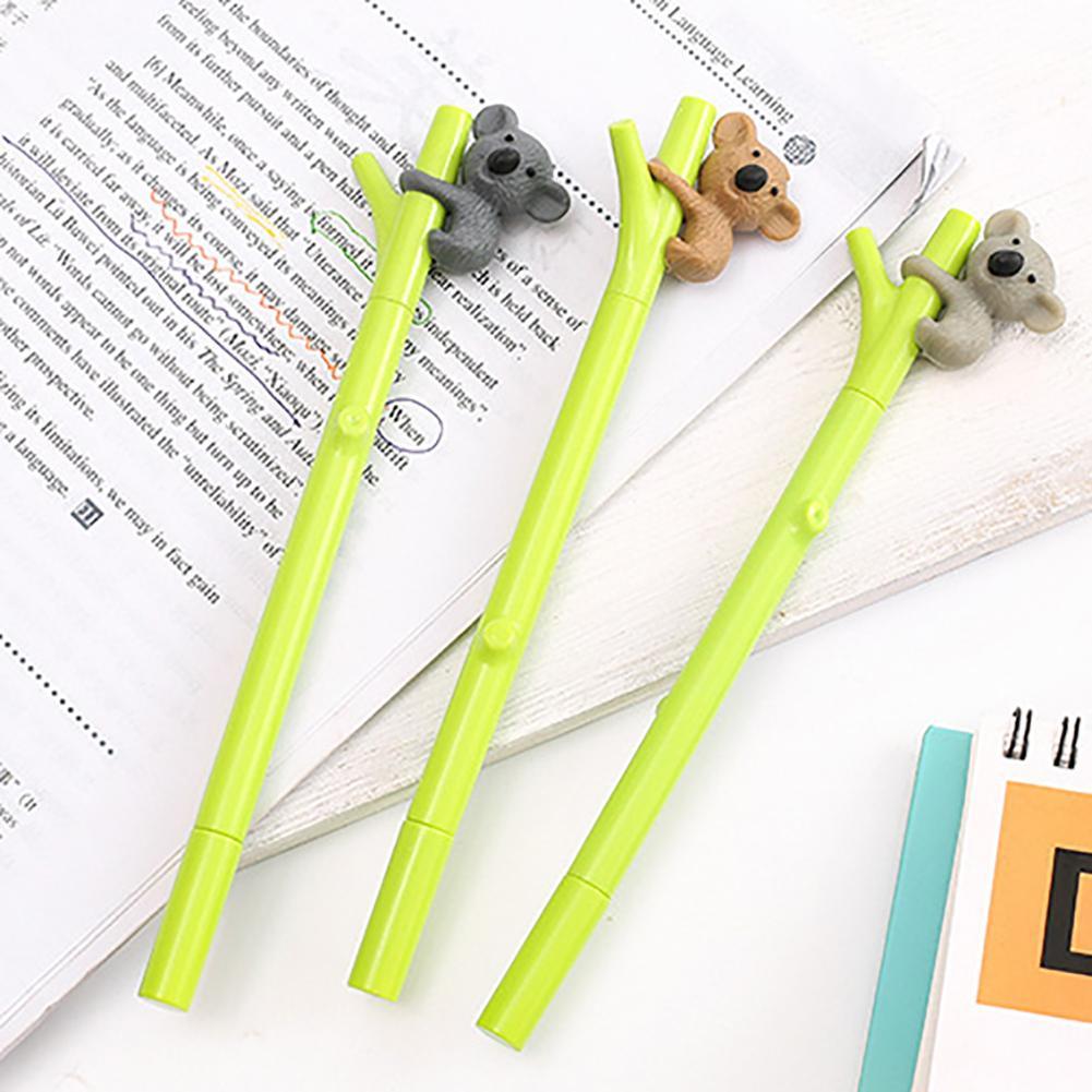 Bolígrafo de tinta de Gel negro con bonito diseño de Koala de 0,5mm, papelería escolar para oficina, regalo para estudiantes