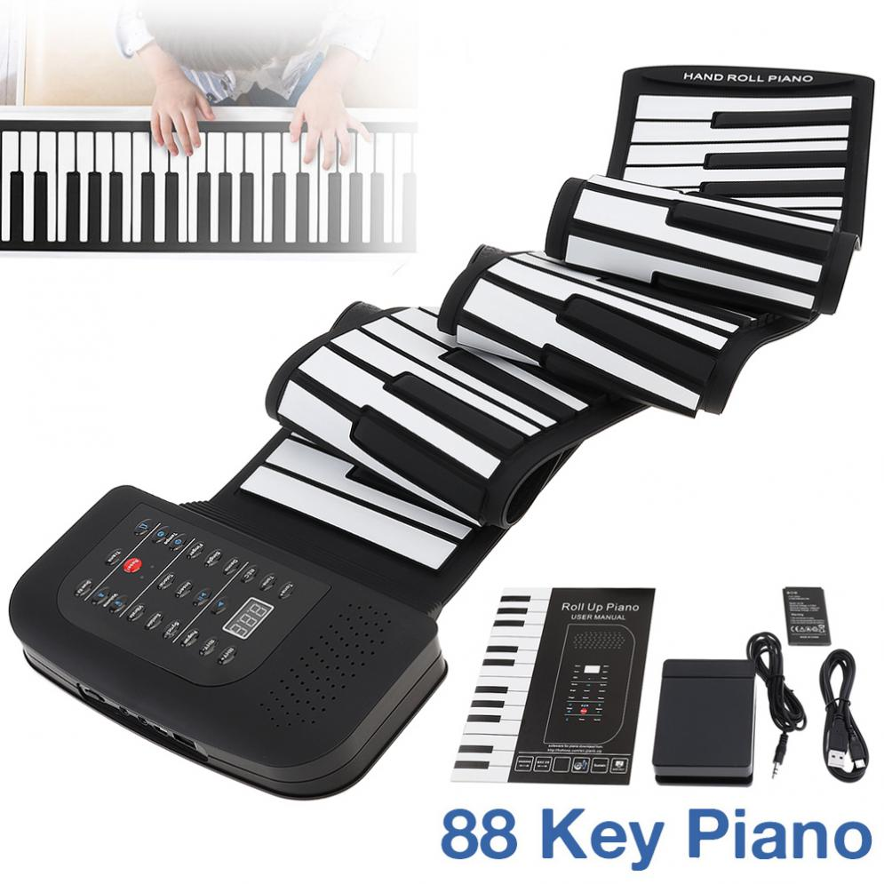 Órgano electrónico de 88 teclas enrolladas recargable teclado de silicona Flexible órgano construido en soporte de altavoz de Bluetooth