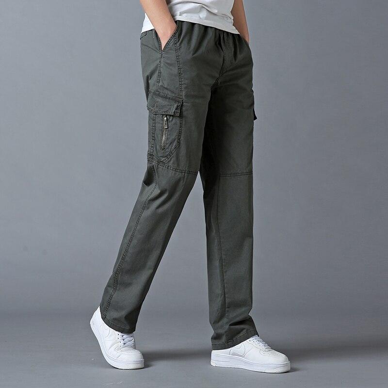 Брюки мужские прямые хлопковые, свободные повседневные штаны с эластичным поясом, легкие брюки-карго большого размера с завязкой