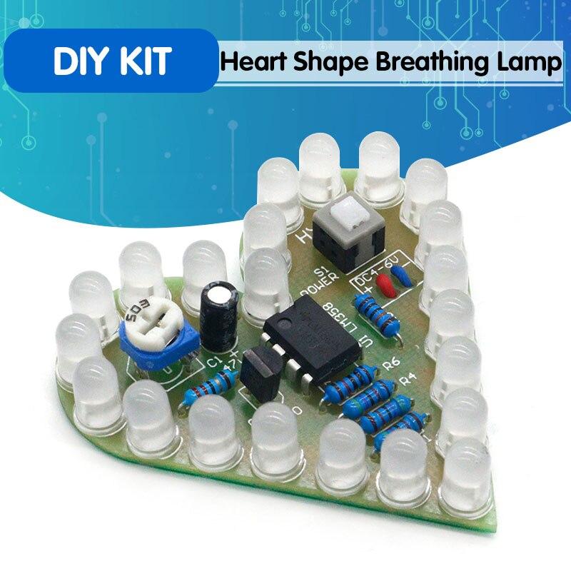 DIY Kit Heart Shape Breathing Lamp Kit DC 4V-6V Breathing LED Suite Red White Blue Green DIY Electro