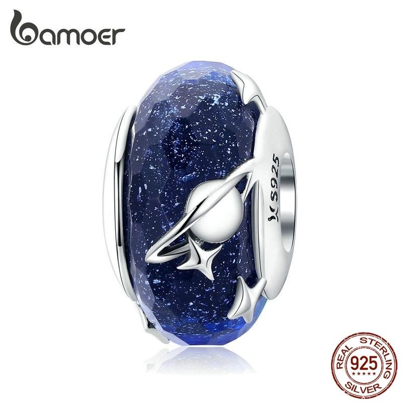 Bamoer Nighty Sky Murano Glas Perlen für Frauen 925 Sterling Silber Galaxy Sterne Charme fit Original Silber Schlange Armband SCC1284