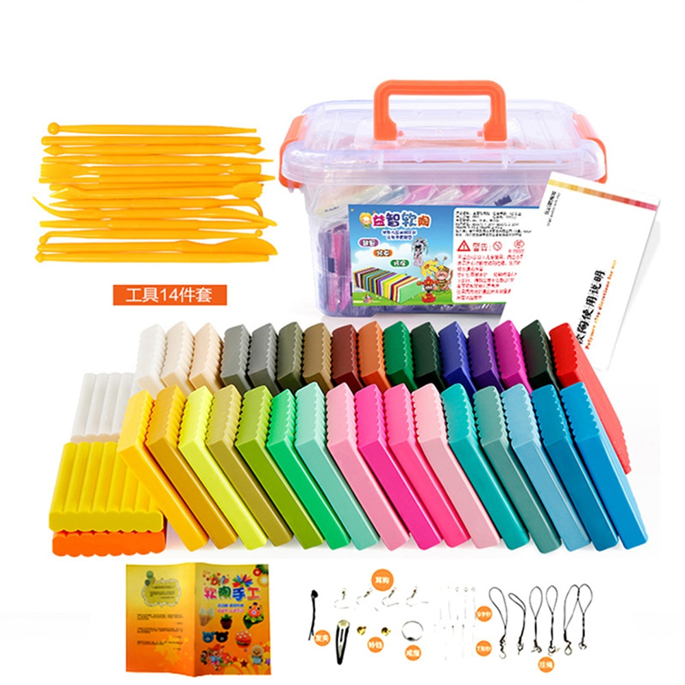 Polymer Clay Fimo DIY Soft Colorful Mud Set Molding Craft Oven Bake Clay Blocks Early Education Toy Plasticine With Tools Box professional high quality oven bake polymer clay figure ob doll modeling bjd face soft clay soil mud good plasticity