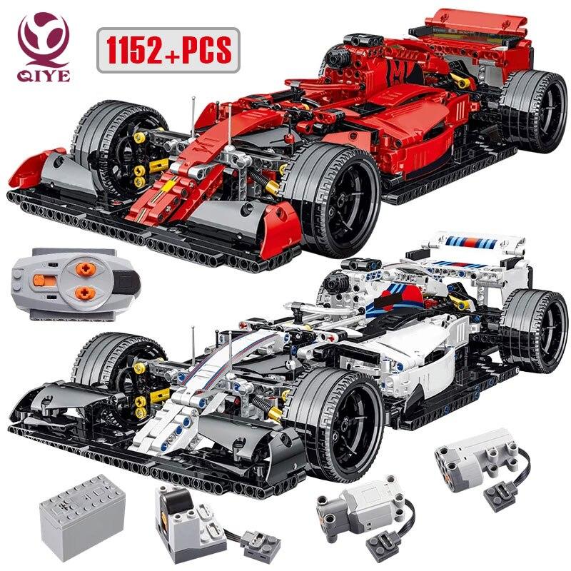 QIYE السيارات الرياضية التقنية صيغة F1 اللبنات مدينة سوبر سرعة سباق السيارات MOC الطوب لعب للأطفال هدايا Boyfriend