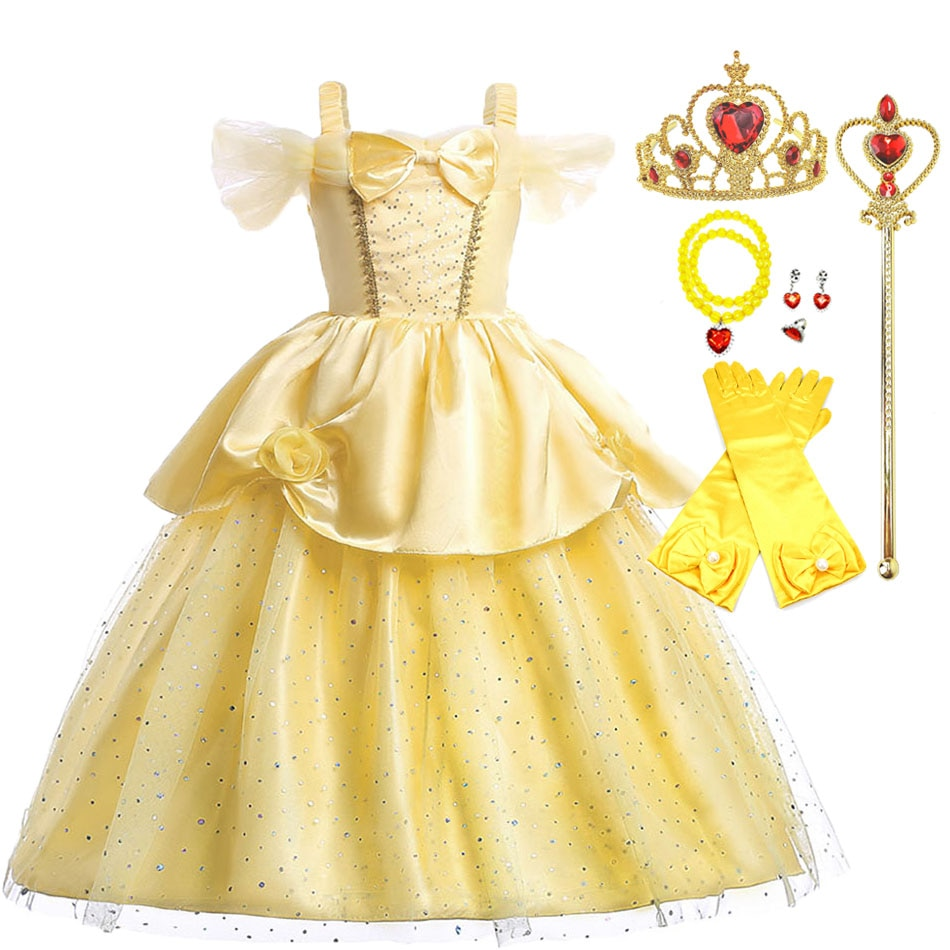 belle princess tutu dress girls tulle party wedding flower girl dresses yellow kids halloween beauty beast cosplay dress costume Girls Belle Dress Up Summer Girl Yellow Beauty and the Beast Fancy Princess Costume Christmas Carnival Birthday Party Dress