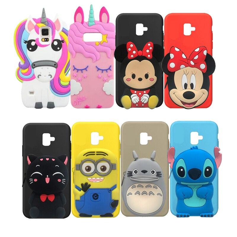 Gato unicornio Minnie 3D cubierta de la caja para Samsung Galaxy J4 J6 J8 S10 Lite S6 S7 S8 S9 Plus J2 primer J3 J5 J7 2017 A6 A7 2018