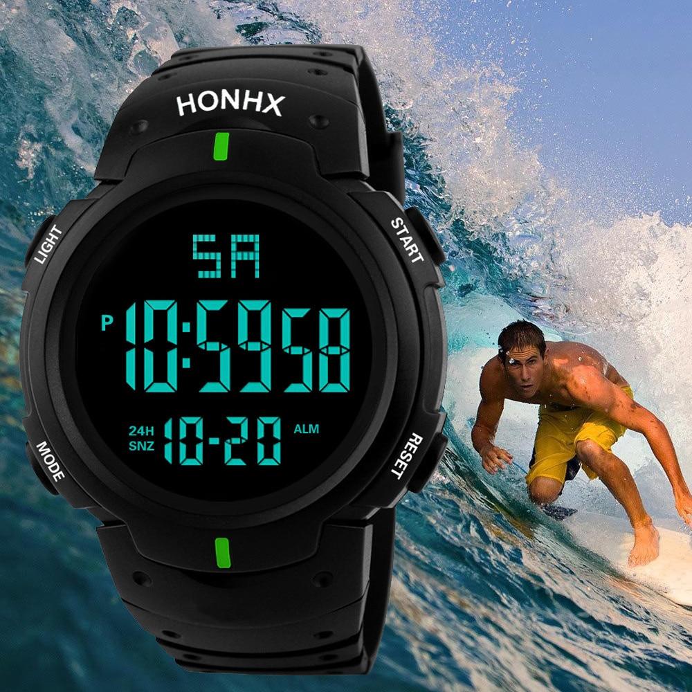 Waterproof Men Boy Lcd Digital Stopwatch Date Rubber Sport Wrist Watch Multifunction Regarder Relóg