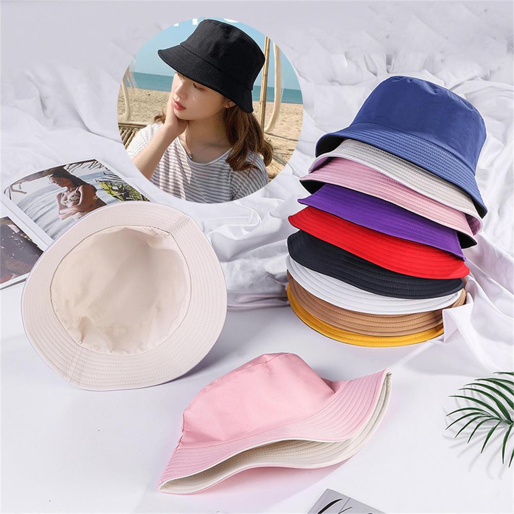 Double-sided Wearing Cap Solid Color Bucket Hat Men Women Sun Hat Reversible Fisherman Hat Summer Panama Cap Sun Fishing Hat недорого