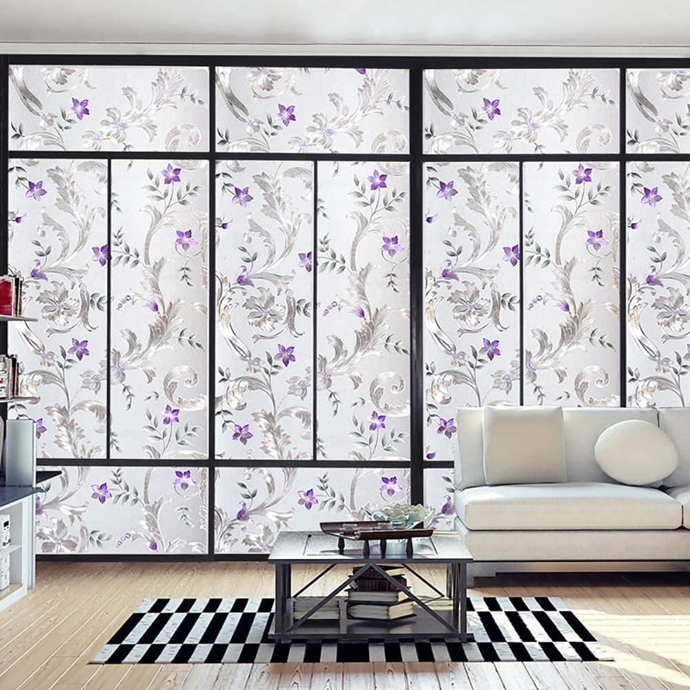 LUCKYYJ Decorative Window Film Purple Flower,Privacy Door Film,Self-adhesive Film,No Glue Stained Glass Anti UV Window stickers