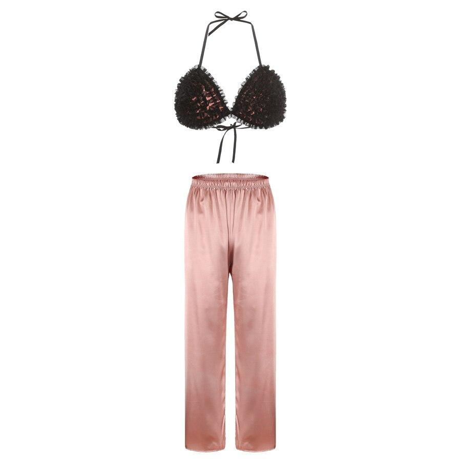 Conjunto de pijamas de mujer detalle de volantes triángulo sujetador y pantalones de satén Sexy conjunto de pijamas Halter bralette con pantalones largos de luna de miel