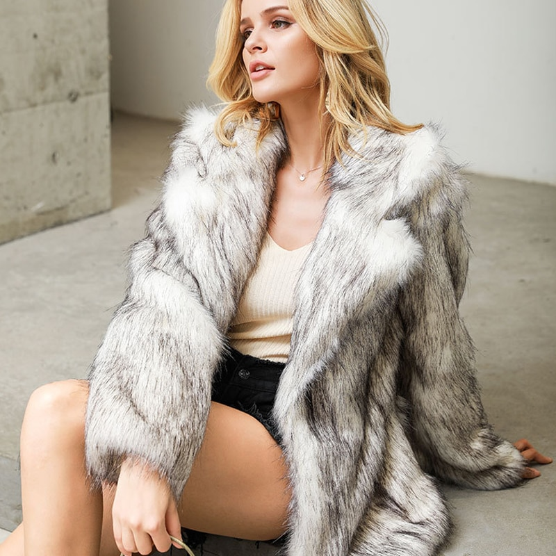Real Photos White Faux Fur Coat Short Women 3XL 4XL Plus Size Large Warm Coats and Jacket Winter Furry Casual Fashion Overcoats
