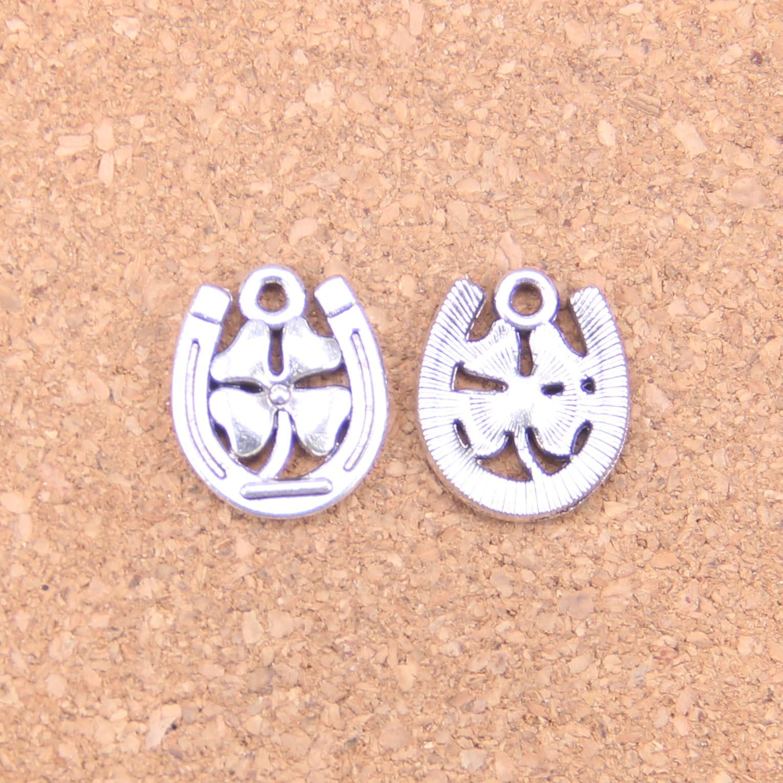 72 pçs encantos ferradura trevo sorte 18x15mm pingentes antigos, vintage tibetano jóias de prata, diy para pulseira colar