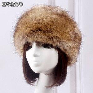 Winter Thick Furry Hairband Fluffy Russian Faux Fur Women Girl Fur Headband Hat Winter Outdoor Earwarmer Ski Hats Hot