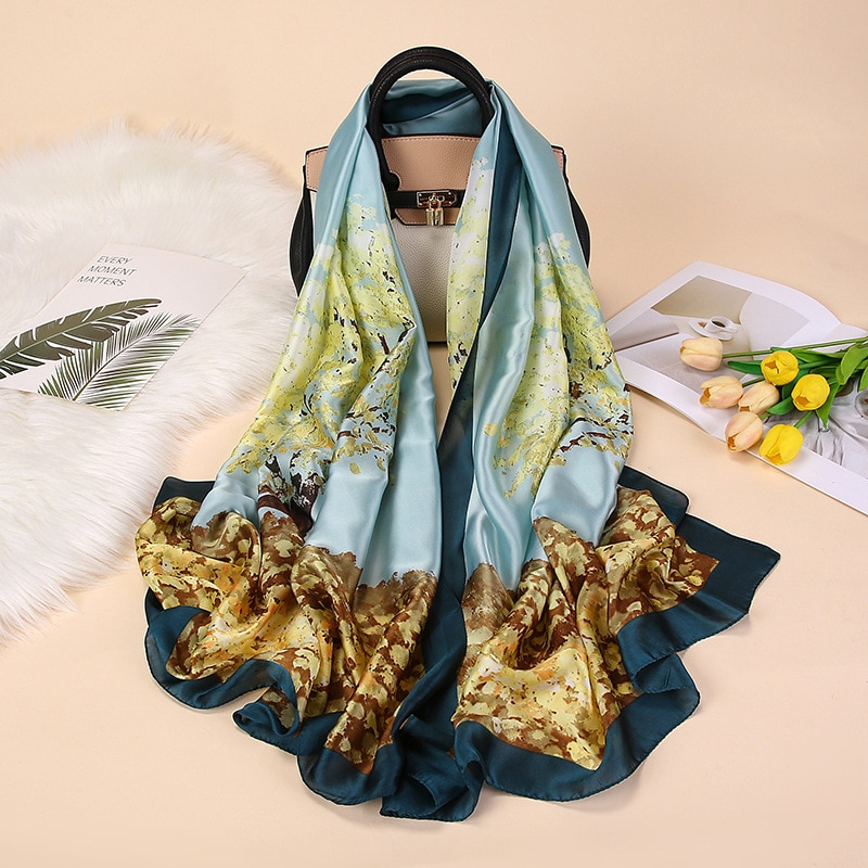 Spring and Summer Elegant Silk Scarf Sunscreen Shawl Female Satin Beach Long Towel Printed Satin Scarf 180x90cm недорого