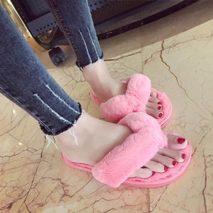 MAIOUMY Winter Fashion Women Home Slippers Faux Fur Warm Shoes Woman Slip on Flats Female Fur Flip Flops Pink Plus Size 36-41