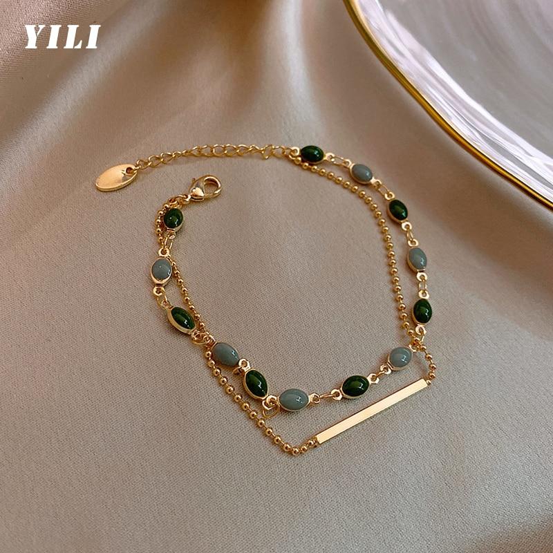 2021 Korean Green Crystal Charm Bracelets for Women Double Layered Gold Chain Beaded Bracelet Retro