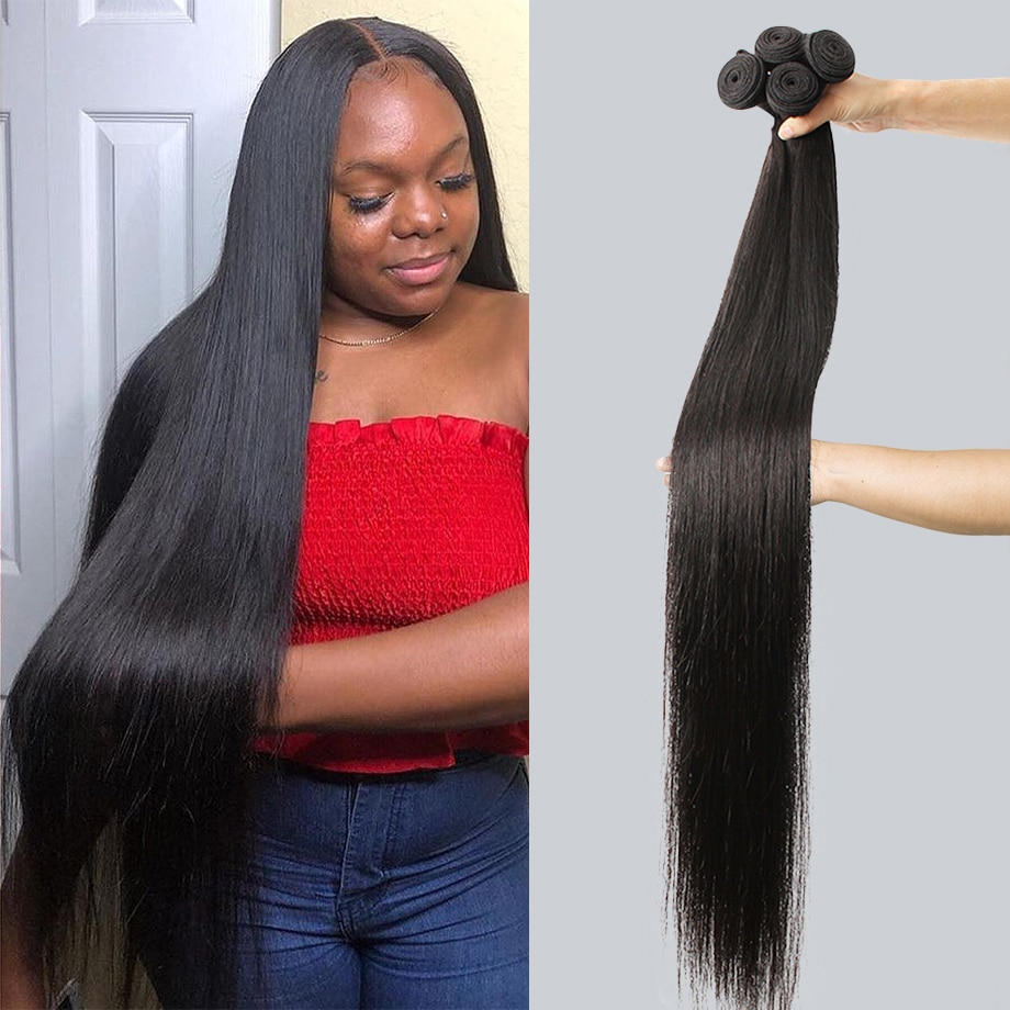 Bone Straight Human Hair Bundles Wave Brazilian Thick Hair Weave long 30 40 inch 1 3 4 Bundles For B