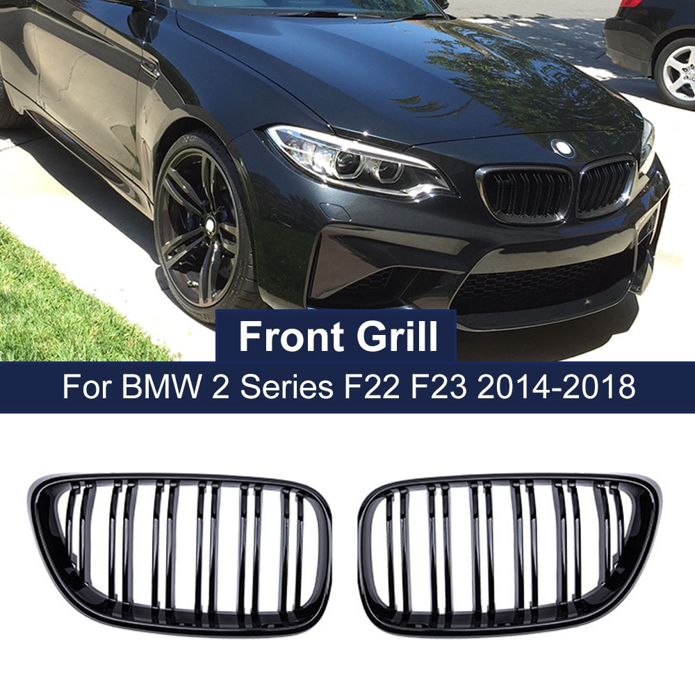 Car Styling Front Bumper Grille Dual Lines Grills for BMW 2 Series F22 F23 F87 M2 Kidney Grill Gloss Matte Black Racing Grilles