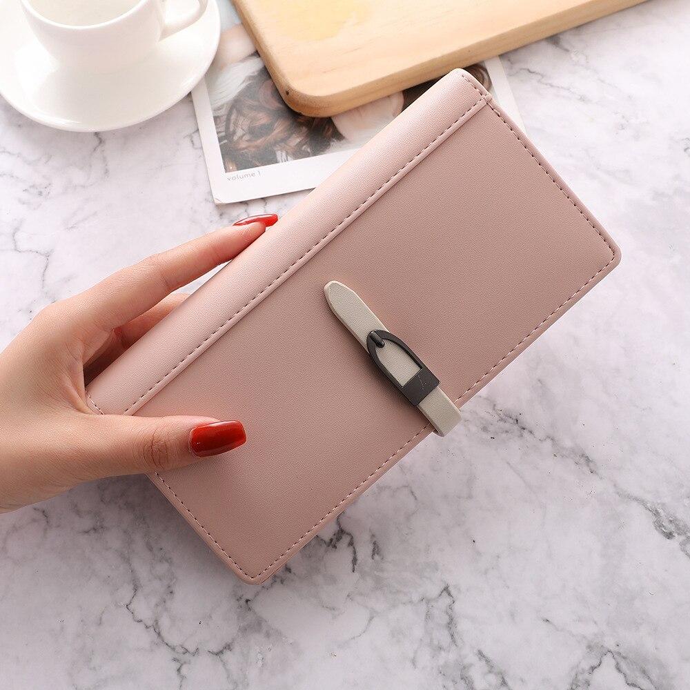 2021 Korean trend wallets for women ladies Fresh style leather women wallets 2021 brand long clutch purse strings money clips