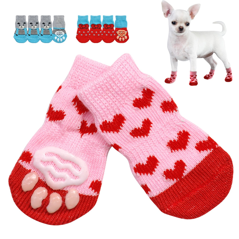 AliExpress - Cute Puppy Dog Shoes Anti-Slip Knit Socks Small Dogs Cat Shoes Chihuahua Boots For Winter Indoor Wear Slip On Paw Protector 4pcs