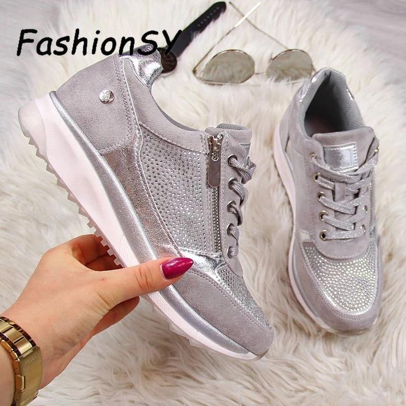 Women's Wedges Sneakers women Vulcanize Shoes Sequins Shake Shoes Fashion Girls Sport Shoes Woman Sneakers Shoes Footwear