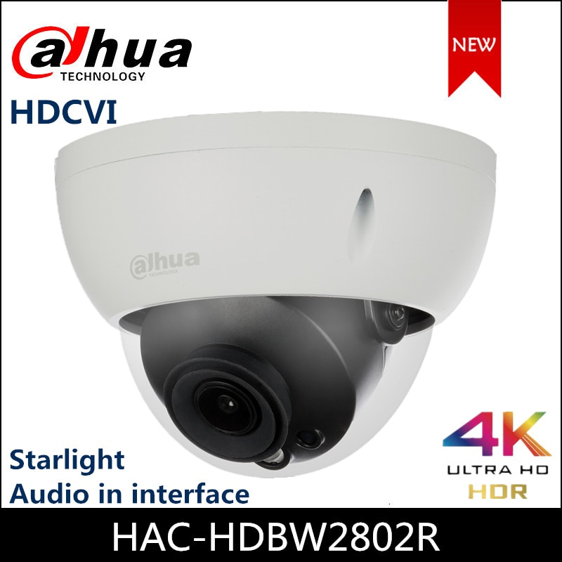 Dahua 4K Starlight HDCVI камера ИК купольная камера HAC-HDBW2802R аудио в интерфейсе CVI/TVI/AHD/CVBS переключаемая CCTV камера
