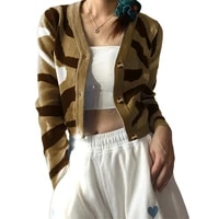 hirigin 2021 womens sexy long sleeve abstract print knit sweater button down cropped cardigan