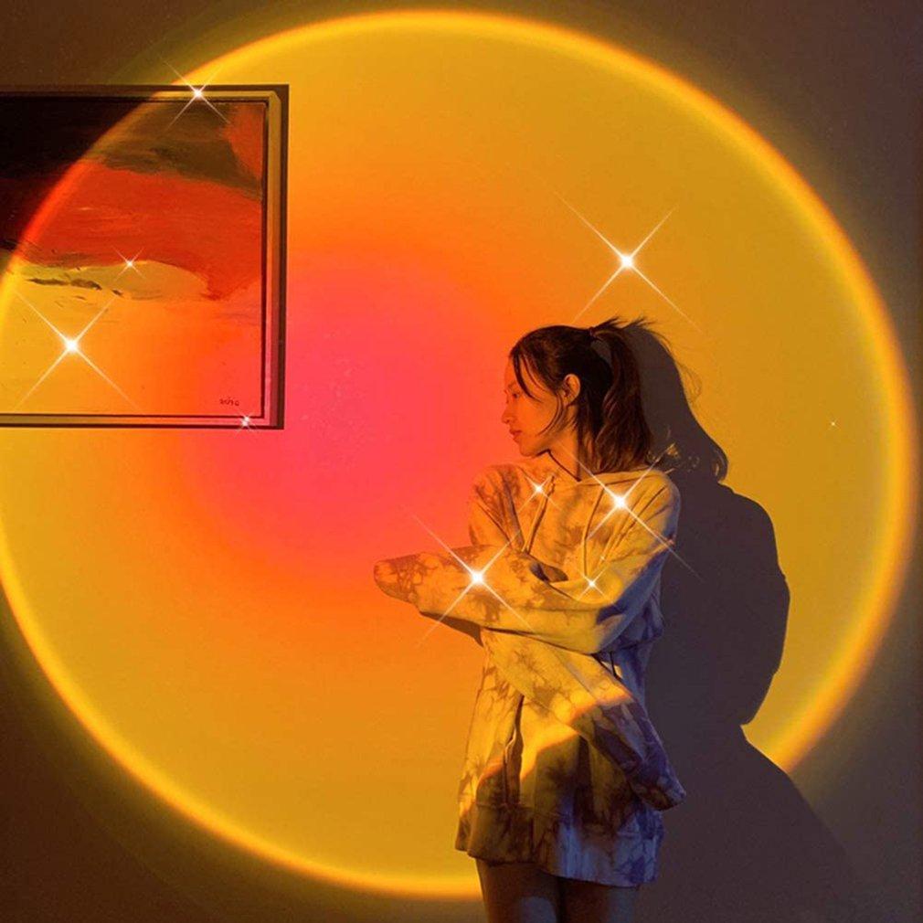 Новинка USB радуга закат проектор свет светодиод ночь свет кофе магазин бар атмосфера лампа фон стена украшение для спальни