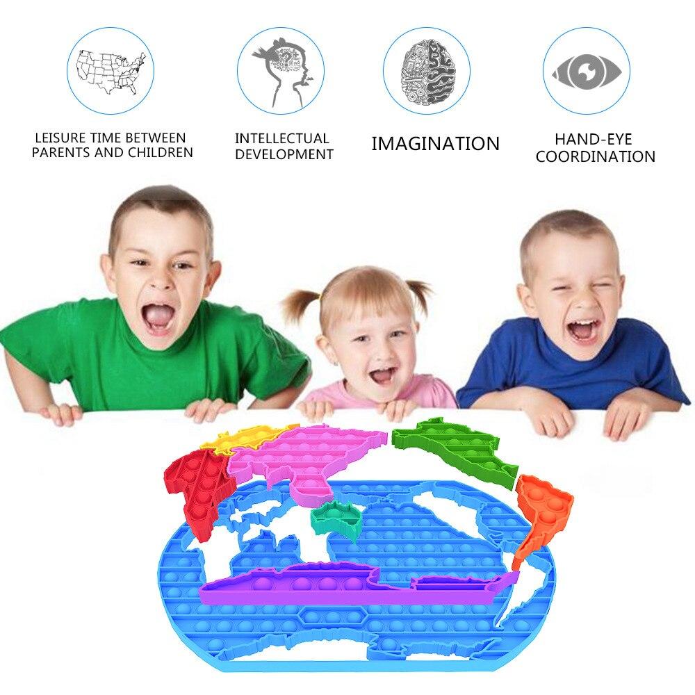 PopitsPop It World пазл-карта, силиконовая головоломка, настольная игра, декомпрессионная игрушка, декомпрессионная настольная игра, карты памяти