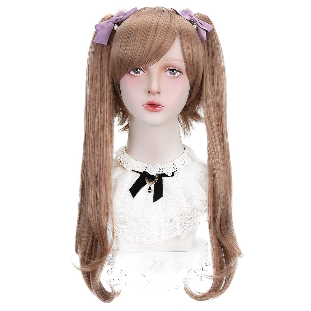 """Free Beauty 20"""" Long Wavy Synthetic Strawberry Blond Hair Wigs with Ponytails Bang for Women Daily Lolita Cosplay Costume Party"""