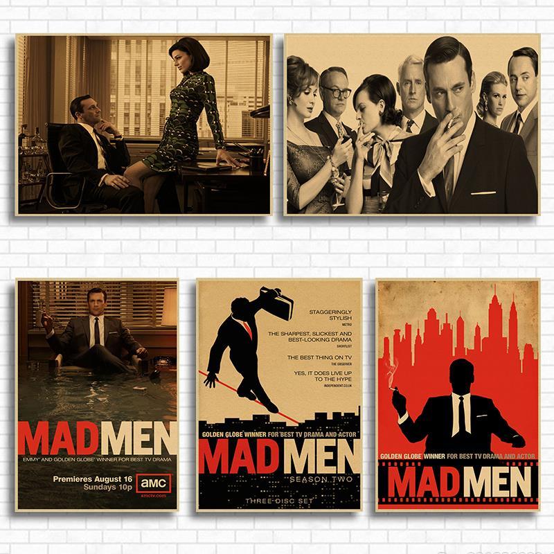 Póster de papel Kraft Retro de película clásica de Mad Men, Bar, café, sala, comedor, pinturas decorativas de pared