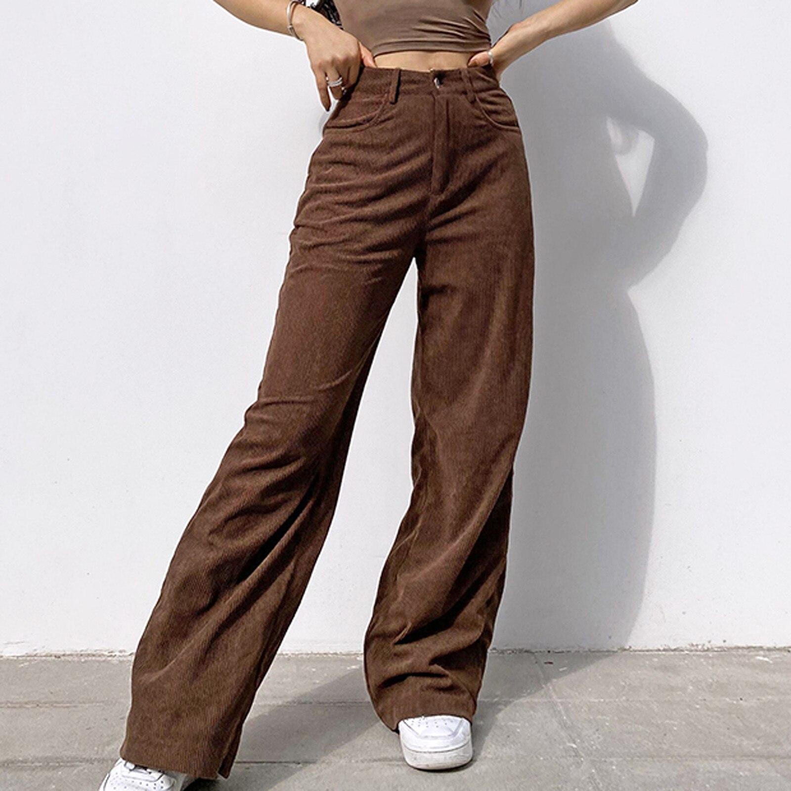 Calças de veludo feminino vintage 90s indie streetwear adolescente skater estilo menina calças largas moda cintura alta calças marrons # f30