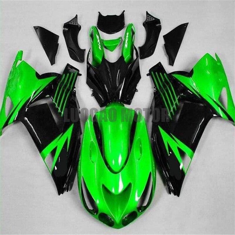 عدة إنسيابية للحقن أسود وأخضر زاهي كاواساكي كوولينغز نينجا ZX14R ZZR1400 2006 2007 2008 2009 2010 2011 هيكل السيارة