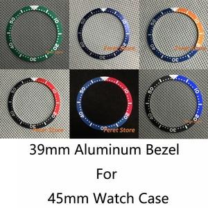 Bliger new Black/dark blue/orange/red 39mm Aluminum Watch Bezel Insert Ring For 45mm Watch Case Wristwatch Accessories