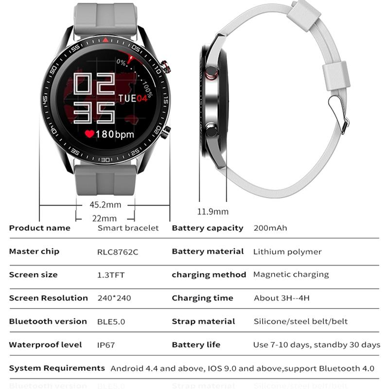 1.3 Inch Steel Bracelet Smart Watch Men Touch Screen Heart Rate Blood Pressure Monitor Smartwatch For Huawei Xiaomi iPhone Phone