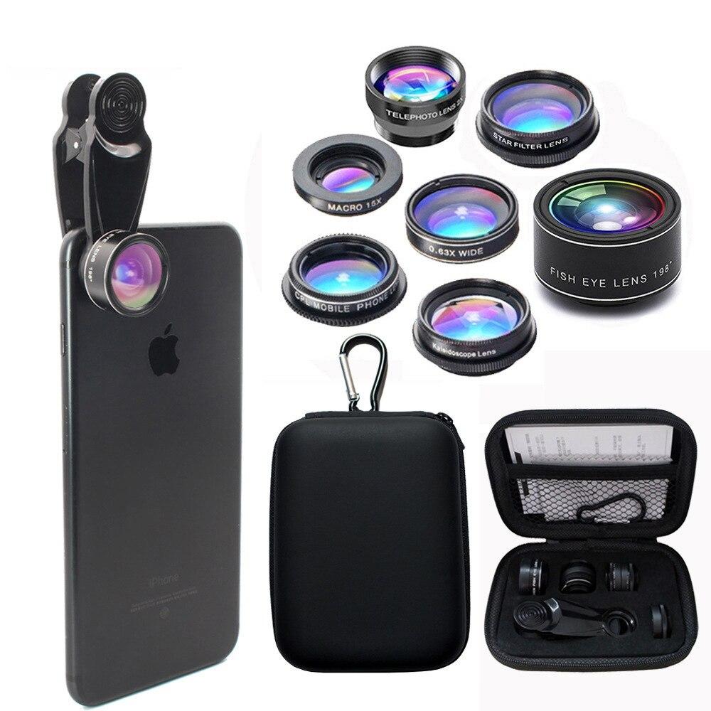 10 in 1 Phone Lens Kit Fisheye lens super Wide Angle macro Lens CPL Filter Kaleidoscope and telescope Lens for smartphone