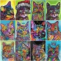 FIYO     Kit de peinture diamant theme chat  broderie complete 5D  a faire bricolage-meme  image carree ou ronde  strass  mosaique  point de croix  Animal  decoration dinterieur